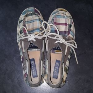 SPERRY Top Sider Bahama madras plaid boat shoes